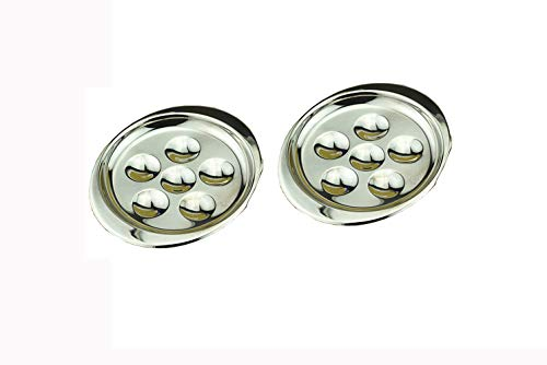 Stainless Steel Snail Mushroom Escargot Plate Dishes 6 Compartment Holes Pack of 2