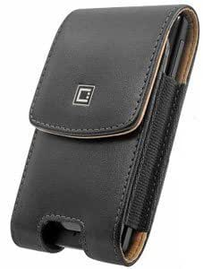 Quaroth Leather Case Vertical Removable Two Clips Black For Blackberry 8820