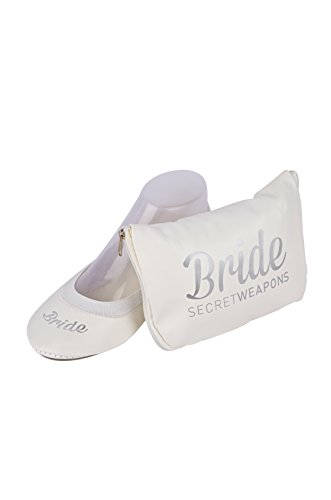 SECRET WEAPONS White Fold Up Ballet Flats-Bridal Foldable Shoes with Bride Print-Cute Purse & Tote Carry Bag! (Small (Size 5-6))