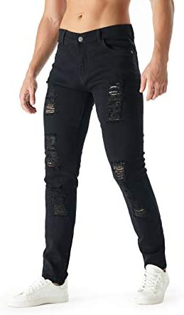 31m18njqaKL. AC bindu Black Men's Jeans Ripped Stretchy, Skinny Denim Pants with Holes, Black Jean for Men,2021trendy Jeans for Men    ★Black ripped slim jeans for men 18--45years old ★☛Stylish Street Style Design: Suitable for outdoor activities or relaxed weekends☛Men's black teared jeans can match light-colored clothes to meet the full fashion look☛Denim cleaning: 1.machine washing, 2. turn it out inside the jeans ,3. with same color clothe✉We recommend choosing more than two Asian sizes that you often wear, and additional unsuitable sizes can contact customer service to return product and postage
