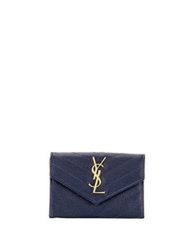 Saint Laurent Monogram YSL Small Envelope Wallet Made in Italy (Navy)