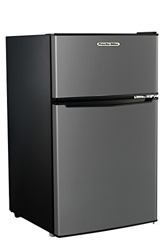 Proctor Silex Large Mini Refrigerator with Reversible Double Door Top Mounted Freezer (86101), 3.1 Cubic Feet, Silver