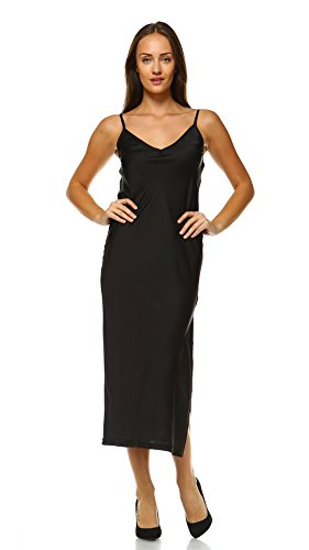 [Shop Lev] Women V-Neck Bias Cut Satin Full Slip Camisole Dress / Nightwear (BLACK, LARGE_LONG)