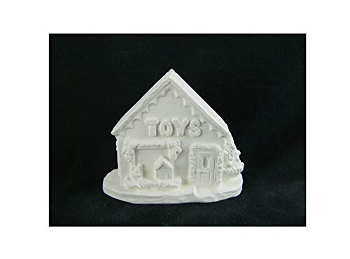 Christmas Village Toy Shop ~ Unpainted Ceramic Bisque ~ Hand Poured in The USA