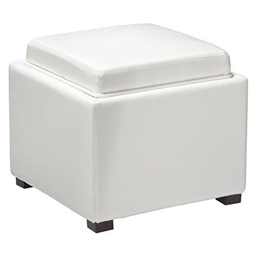 Cortesi Home Mavi Snow White Storage Tray Ottoman in Bonded (Bonded Leather Cube)