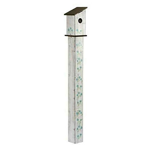 Garden Cottage Birdhouse - Studio M Cottage Garden Birdhouse Art Pole Wood-Grain Neutral Functional, Weather-Proof with Cleanout, Hardware Included, Easy Install, Made in USA, 5 ft Tall, Universal 1.5 Inch Entry