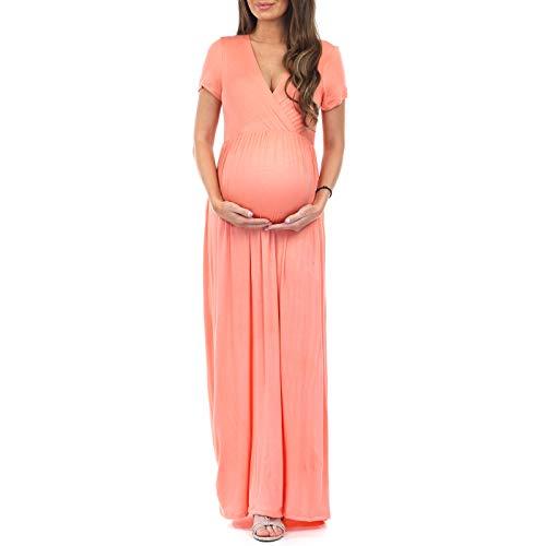 Maternity Short Sleeve Dress - Made in USA Peach