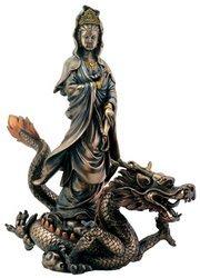 Summit Bronze Kuan Yin with Dragon Buddhism Display Statue