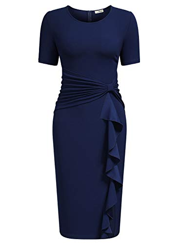 AISIZE Women 50s Vintage Ruffle Peplum Cocktail Pencil Knee Dress Large Navy Blue