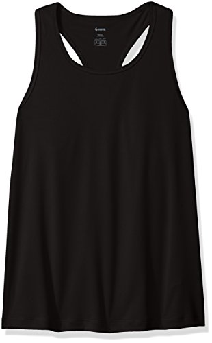 (Soffe Girls' Performance Racer Tank Top, Black,)