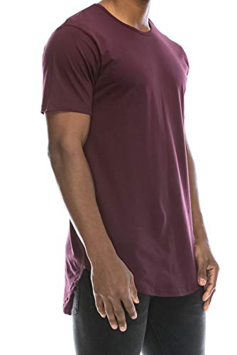 Mens Long T-shirts Tees - JC DISTRO Mens Hipster Hip Hop Cotton Elong Crewneck T-Shirt Wine Medium