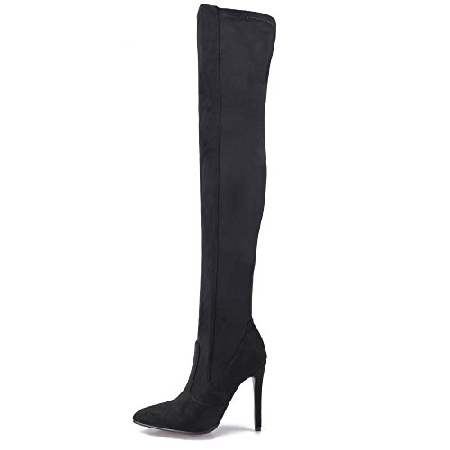 (Shoe'N Tale Women Over The Knee High Stretchy Leather Thigh high Snow Boots (7.5 B(M) US, Black Suede))