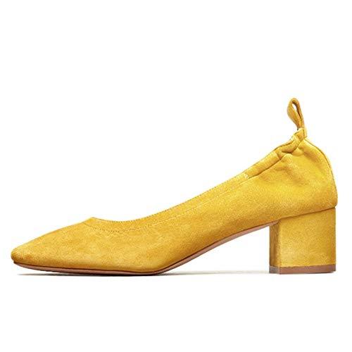 in con a Décolleté pelle tallone Of punta Jrenok tacco scarpe Women arrotondata tacco sul con Office scamosciata xqwOSIzS