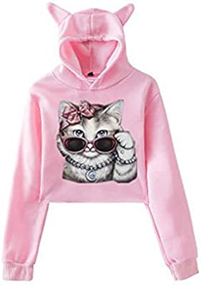 Ladies Cat Ear Solid Long Sleeve Hoodie Sweatshirt Hooded Pullover Top Blouse A2