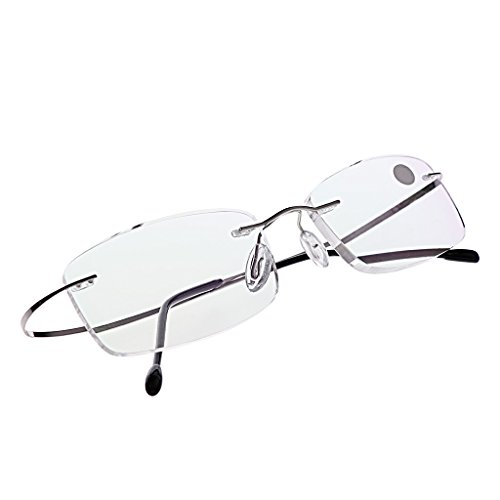 Allrise Ultralight Titanium Rimless Reading Glasses, Rectangular Presbyopic Eyeglass Spectacles Eyewear (S+350)