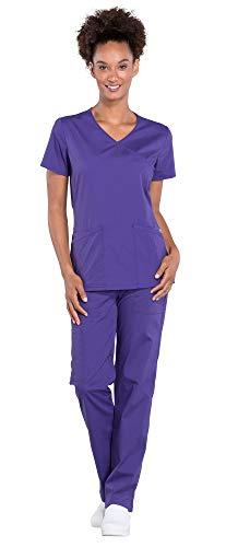 Mock V-neck Top Wrap Scrub - Cherokee Workwear Professionals Women's Mock Wrap Scrub Top WW655 & Women's Drawstring Scrub Pants WW160 Medical Uniforms Scrub Set (Grape - Large)