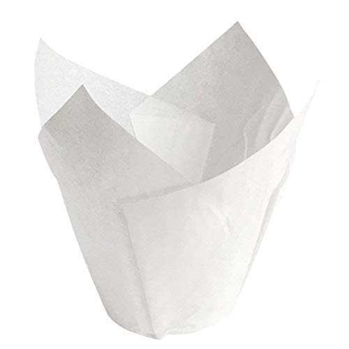 Made in USA White Paper Tulip Cupcake Muffin liner - 4oz Baking Cups; Made of Swedish Paper; Bake, Decorate and Serve Your Treats in One Beautiful & Elegant Cup (Pack of 100)