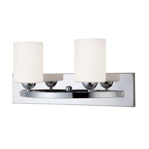 Transitional Two Light Mirror - Canarm LTD IVL370A02CH-O Hampton 2 Light Vanity, Chrome with Flat Opal Glass
