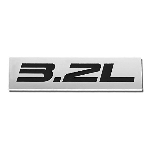 UrMarketOutlet 3.2L Black/Chrome Aluminum Alloy Auto Trunk Door Fender Bumper Badge Decal Emblem Adhesive Tape Sticker