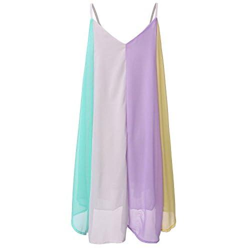 fc6e1b0c46db4b delicate ZANZEA Women s Sexy Spaghetti Straps Sleeveless Loose Rainbow Chiffon  Mini Dress
