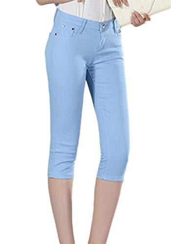 A Tinta Casua Chic Fashion Unita Jeans Pantaloni Vita Hellblau 4 Capri Bassa Slim Donna Hx Fit 3 Da URXn8na