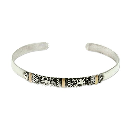 NOVICA 18k Yellow Gold Plated Accent .925 Sterling Silver Cuff Bracelet 'Vine Tendrils' by NOVICA