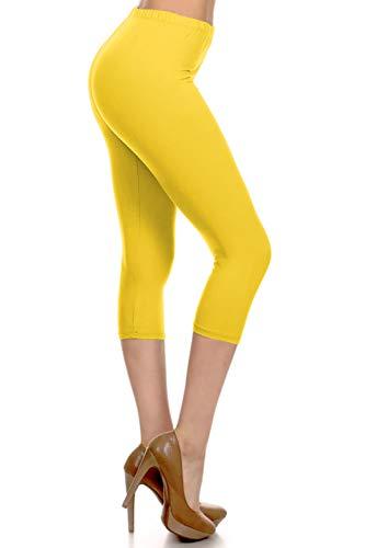 NCPRX128-Yellow Capri Solid Leggings, Plus