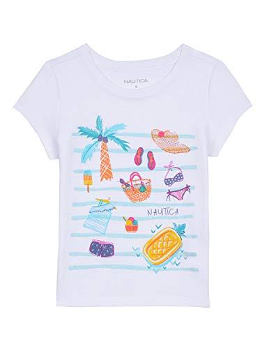 Nautica Big Girl's Girls' Short Sleeve Graphic Tee Shirt, icon white, XL16