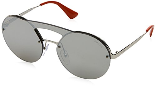 Prada Women's Cinema Round Brow Bar Sunglasses, Silver/Silver, One - Cinema 2017 Sunglasses Prada