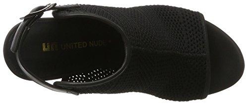 United Nude Zink Fab Hi, Women's Open Toe Sandals Schwarz (Black Woven)