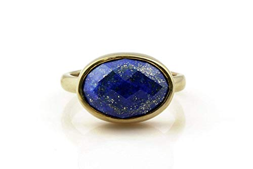 Oval Shaped Lapis Lazuli Ring By Anemone Limited -14K Gold Ring With Engraving For Women - Casual Wear & Holiday Gift [Handmade Jewelry]