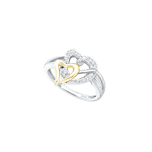 10kt Yellow Gold Womens Round Diamond Two-tone Double Heart Ring 1/10 Cttw by JawaFashion