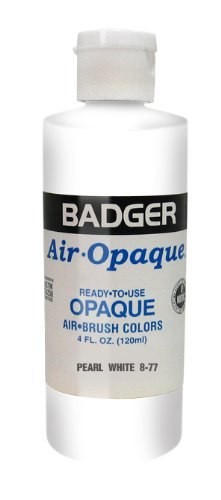 Badger Air-Brush Company Air-Opaque Airbrush Ready Water Based Acrylic Paint, Pearl White, 4-Ounce