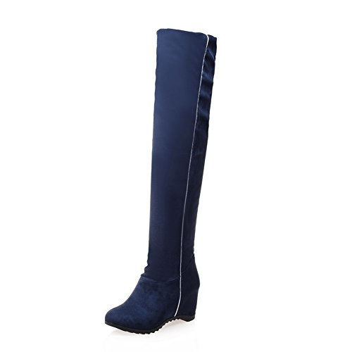 A&N Girls Heighten Inside Flexible Thigh Highs Frosted Boots Blue