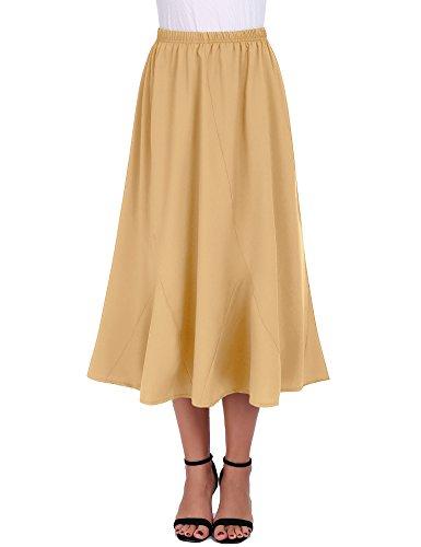 - FISOUL Women Vintage Elastic Waist Skirts Casual Below Knee Length Flared A-Line Pleated Long Skirts (Khaki, Medium)