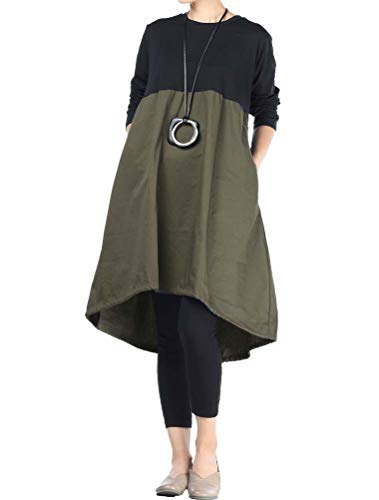 Mordenmiss Women's Long Sleeve Dress High Low Loose Cotton Tunic Dresses with Pockets