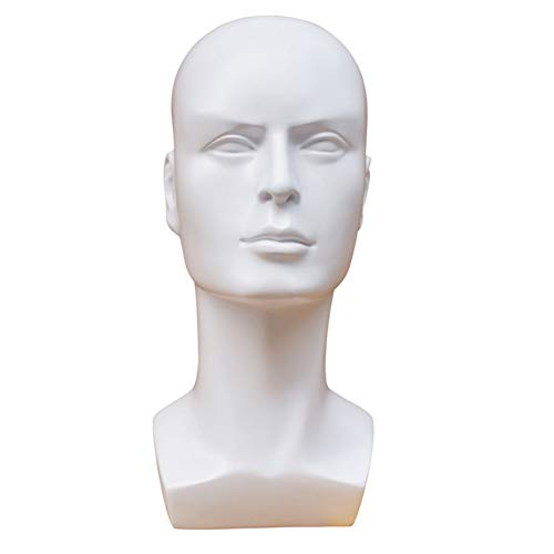 Connoworld Multi-Use Plastic Male Mannequin Head Model Professional Bald Manikin Head Mask Hat Wig Hair Jewelry Headset Glasses Stand Tool Display Props White