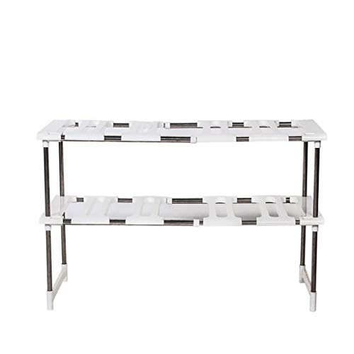 TADAMI Under Sink 2 Tier Expandable Shelf Organizer Rack Storage Kitchen Tool Holders Home & Kitchen (White)