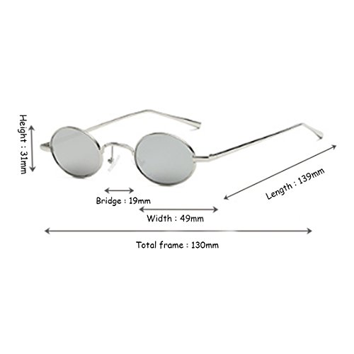 para Retro Sunglasses Small Frame hombres Inlefen Glasses Moda Plata Vintage Mujeres Oval Small estrecho dqHw0vKtw