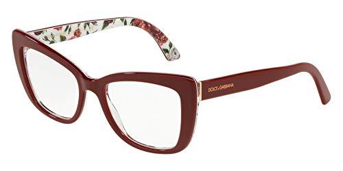 Dolce&Gabbana DG3308 Eyeglass Frames 3202-53 - Bordeaux/Rose And DG3308-3202-53