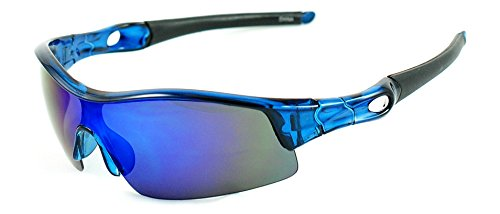 Transparent Blue Wrap Around Sports Sunglasses with Blue Reflective Shield - Seniors Sunglasses For Around Wrap