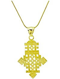Ethiopian Cross Pendant Necklace Chain 18k Gold Filled Plated Ethiopia Item Jewelry Africa