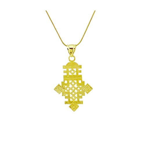 Passage 7 Ethiopian Cross Pendant Necklace Chain 18k Gold Filled Plated Ethiopia Item Jewelry Africa Chain Length 48CM