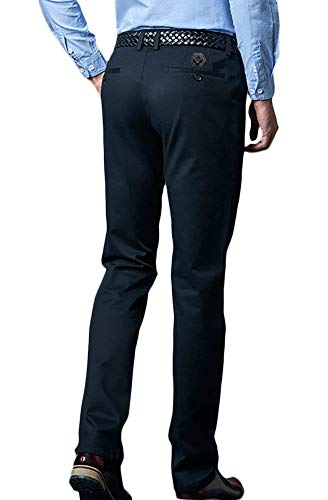 Oficina Blue Slim Modernas Formal Fit uomo Chinos Manguera Pantaloni Business Chino Solid Pantaloni casual Cotton da Zq7Owg