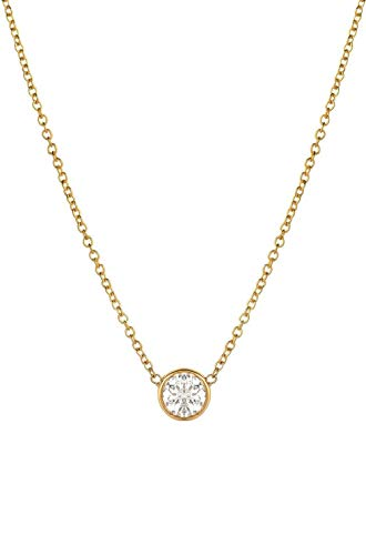 (14k gold diamond solitaire necklace, diamond bezel necklace 0.10ct)