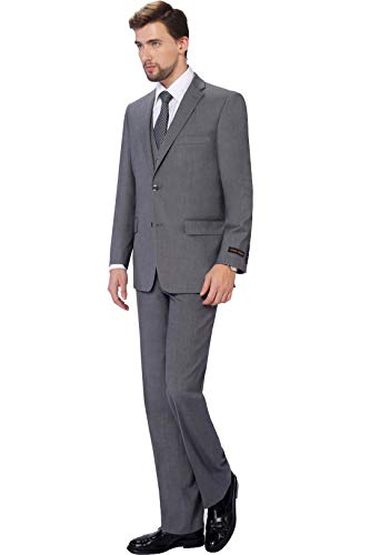 (P&L Men's 3-Piece Classic Fit Vest Suit Jacket & Expandable Waist Dress Pants Grey)