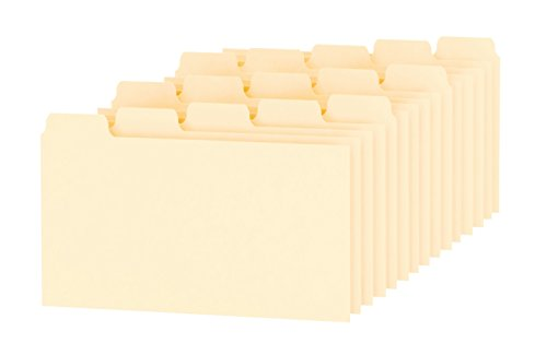 Oxford Index Card Guides with Blank Tabs, 3 x 5 Inches, 1/5 Cut Tabs, Manila, 100 per Box (40352)