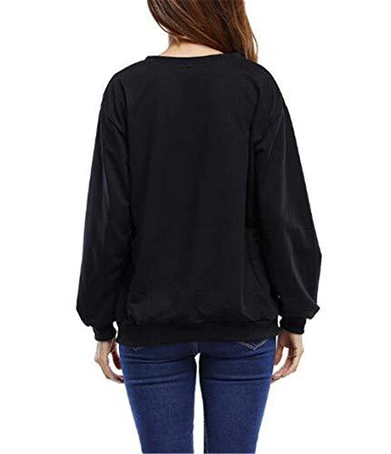 Sweatshirt Imprimer Pull Betrothales Manches Noir Ladies À Chemises En Longues Vrac Lettres UwzdxRq