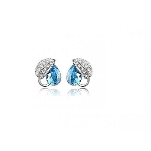Boucles d'oreille puces feuille cristal turquoise swarovski éléments