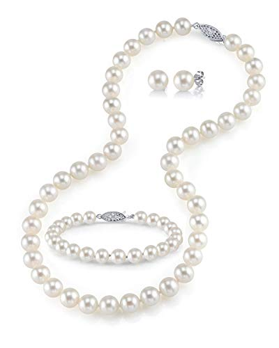- THE PEARL SOURCE 14K Gold 8-9mm Round White Freshwater Cultured Pearl Necklace, Bracelet & Earrings Set in 18